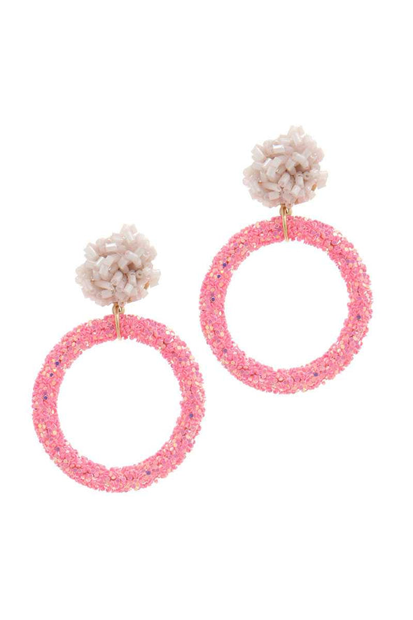 Glitter Ring Beaded Post Drop Earring - Babe Shoppe
