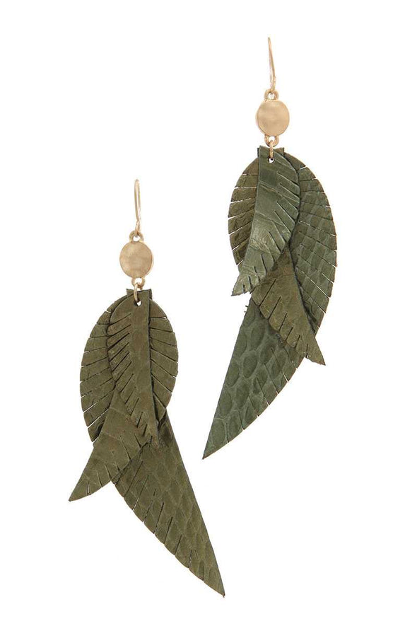 Genuine Leather Drop Earring - Babe Shoppe