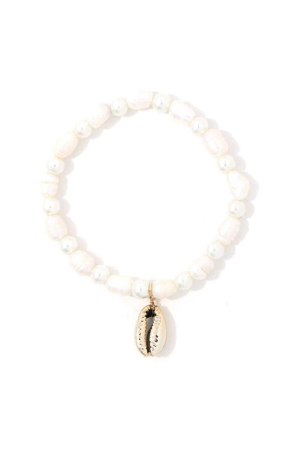 Cowrie Shell Beaded Stretch Bracelet - Babe Shoppe