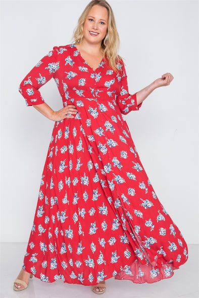 Plus Size Floral Button Down Maxi Dress