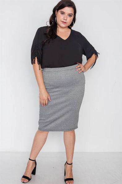 Plus Size Black White Plaid Pencil Skirt - Babe Shoppe