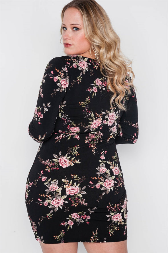 Plus Size Black Floral V-neck Long Sleeve Mini Dress - Babe Shoppe