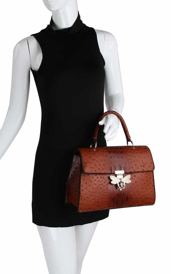 Stylish Insect Buckle Satchel With Matching Wallet - Babe Shoppe