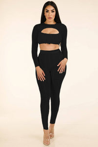 Shirred Mesh Top & Ruched Mesh Leggings Set - Babe Shoppe