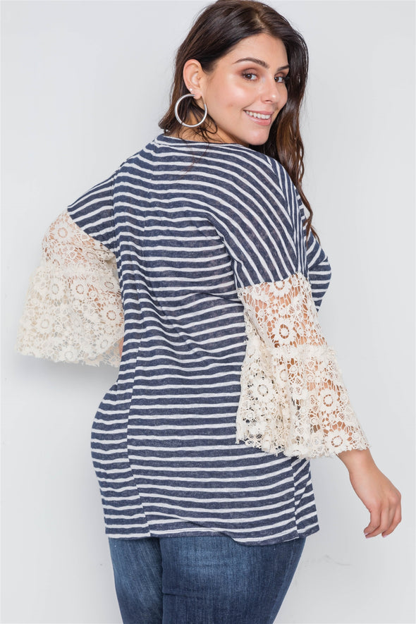 Plus Size Navy Taupe Stripe Lace Sleeves Knit Top - Babe Shoppe