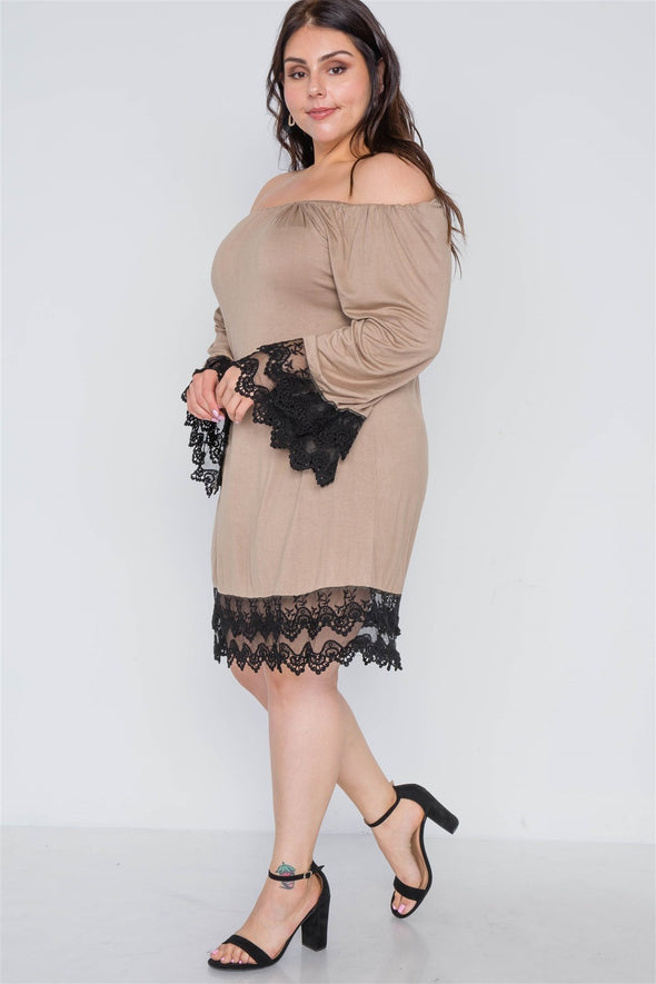 Plus Size Off-the-shoulder Lace Hem Dress - Babe Shoppe