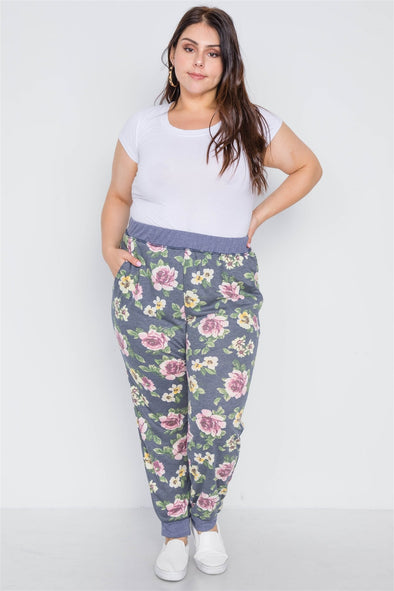 Plus Size Blue Floral Print Knit Joggers Pants - Babe Shoppe