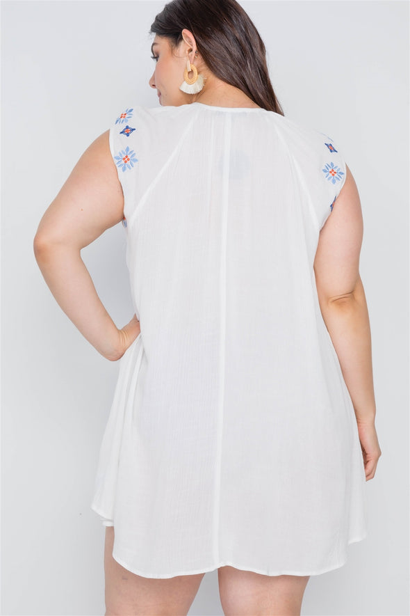Plus Size Off White Floral Embroidery Mini Dress - Babe Shoppe