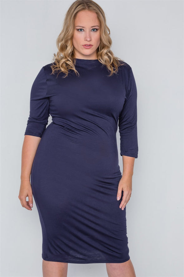 Plus Size Navy Basic Bodycon 3/4 Sleeve Dress - Babe Shoppe