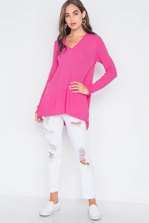Knit V-neck Casual Solid Long Sleeve Sweater - Babe Shoppe
