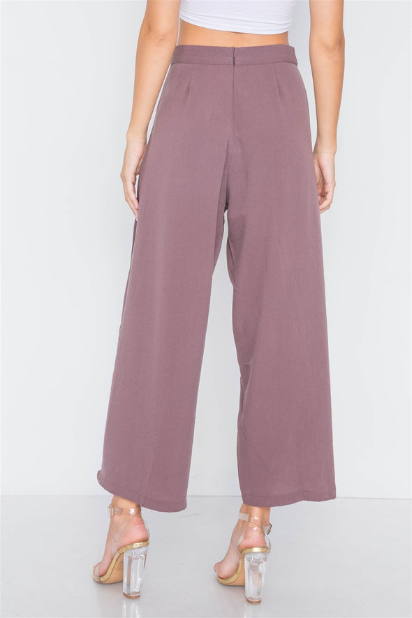 High-waist Front-tie Wide Leg Pants - Babe Shoppe