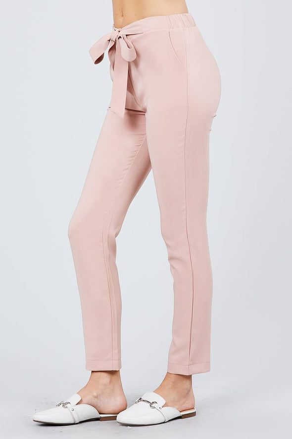 Front Ribbon Tied Pegged Long Pants - Babe Shoppe