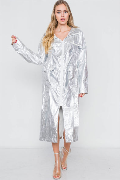Metallic Lightweight Zip-up Jacket - Babe Shoppe