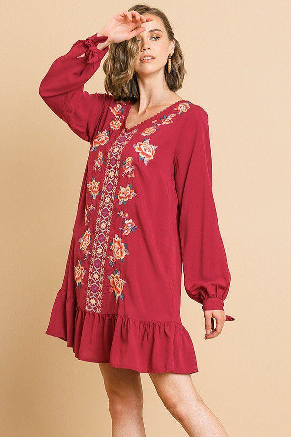 Floral Embroidered Long Sleeve V-neck Ruffle Hem Dress With Sleeve Ties And Crochet Details - Babe Shoppe