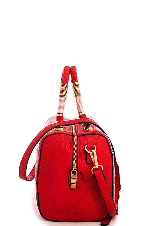Cute Stylish Moroccan Top Handle Boston Bag With Long Strap - Babe Shoppe
