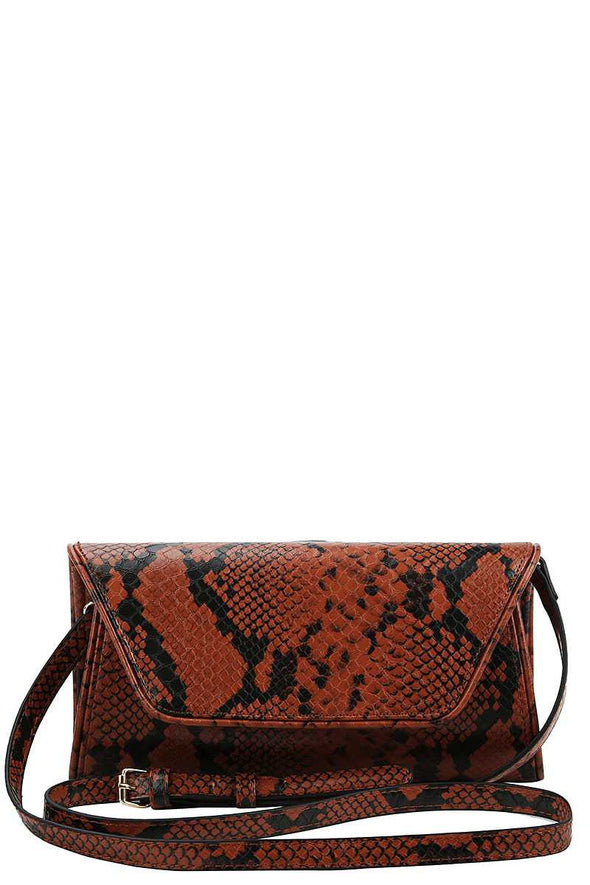 Cute Python Pattern Clutch Cross Body - Babe Shoppe