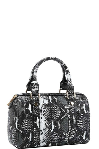 Trendy Setter Cute Python Pattern Boston Bag With Long Strap