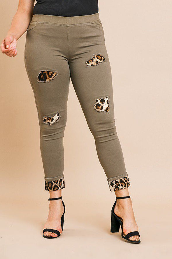 Skinny Pants With Animal Print Patches And Rolled Cuff Hem - Babe Shoppe