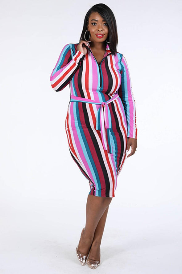 Multi Stripe Zip Up Dress - Babe Shoppe