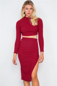 Knit Ribbed Two Piece Crop Top Skirt Set - Babe Shoppe