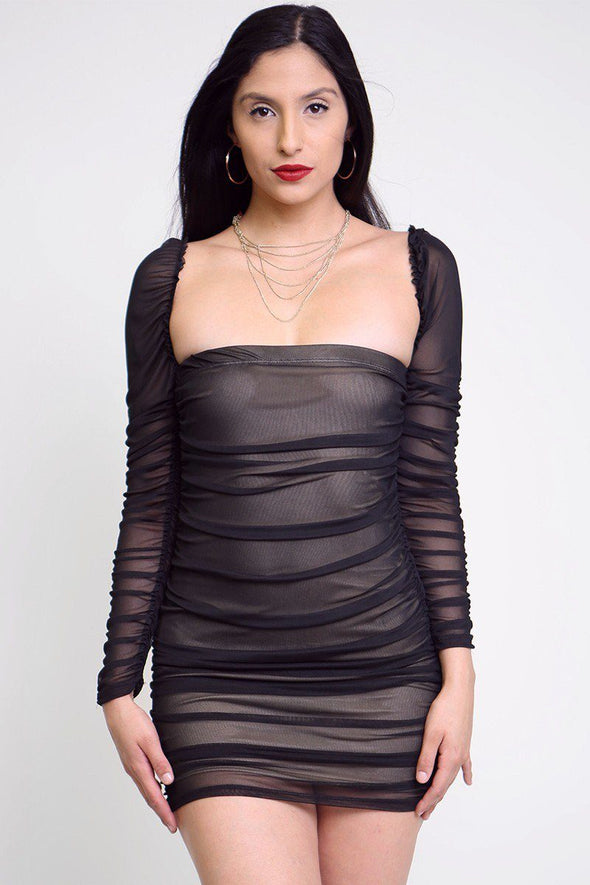Mesh Ruched Bodycon Tube Dress - Babe Shoppe