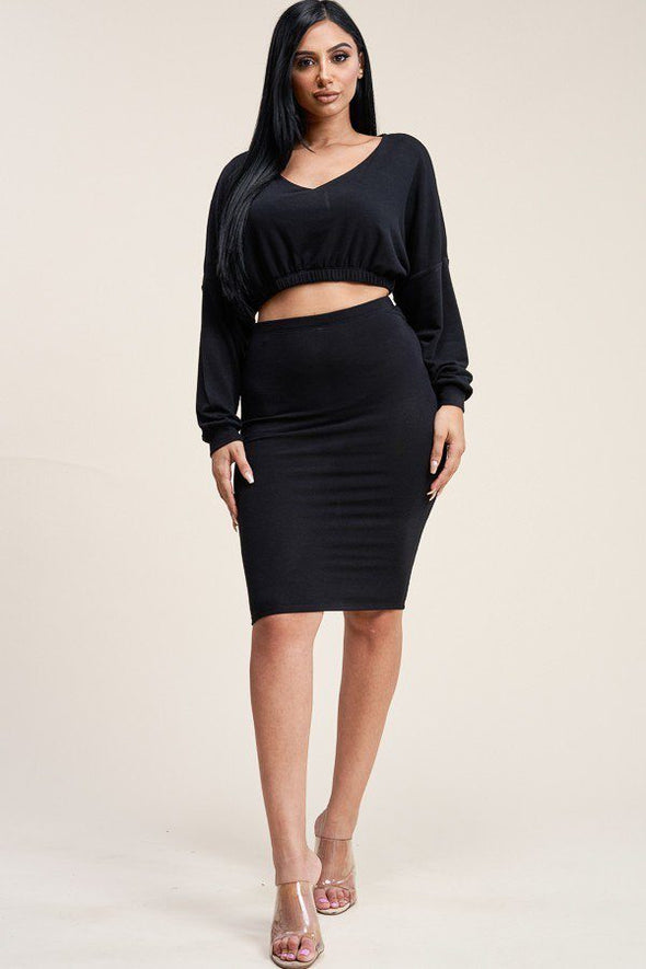 Solid Cropped Top And Skirt Two Piece Set - Babe Shoppe
