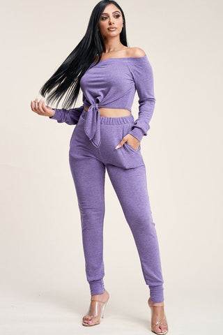Solid French Terry Top And Pants Two Piece Set - Babe Shoppe
