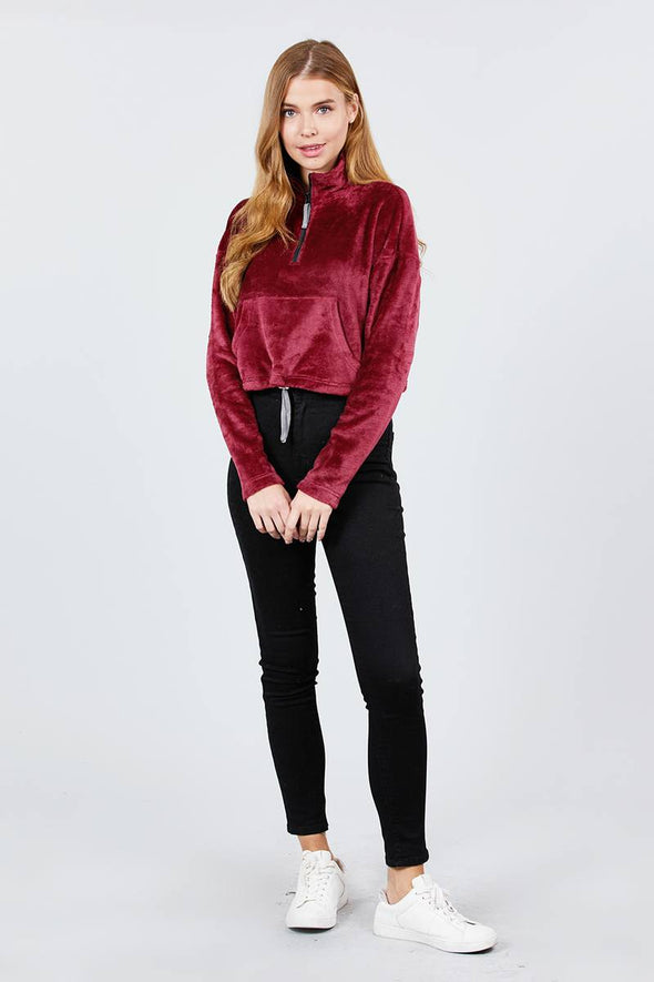 Long Dolman Sleeve Mock Neck W/zipper Detail Kangaroo Pocket Bottom W/stopper - Babe Shoppe