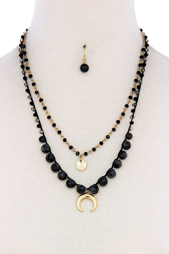 Double Layer Crescent Moon Pendant Bead Necklace And Earring Set - Babe Shoppe