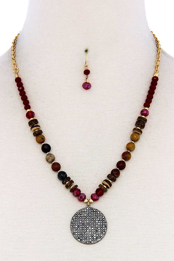 Beaded And Circle Pendant Necklace And Earring Set - Babe Shoppe