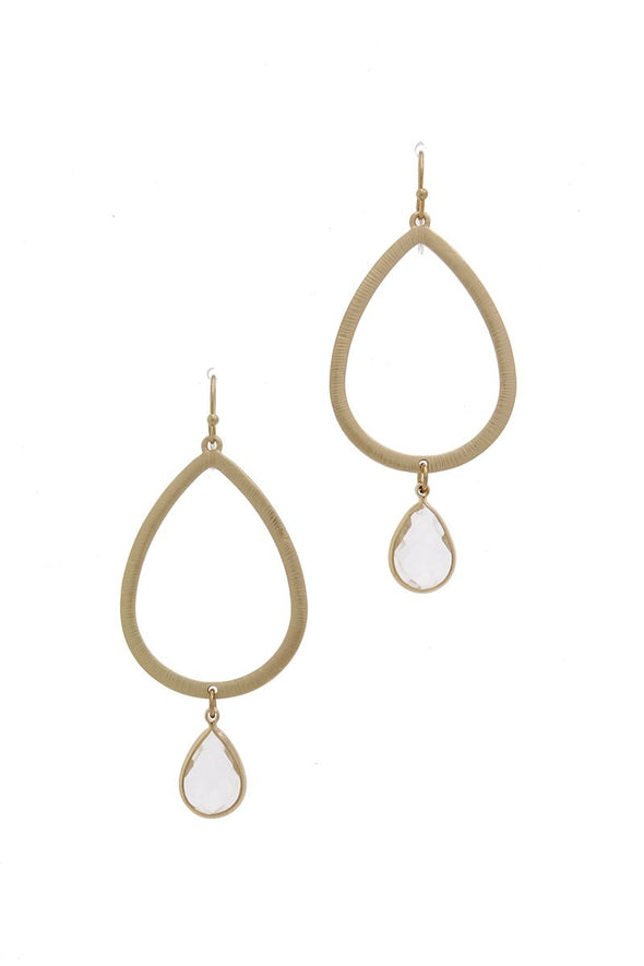 Textured Metal Cut Out Teardrop Earring - Babe Shoppe