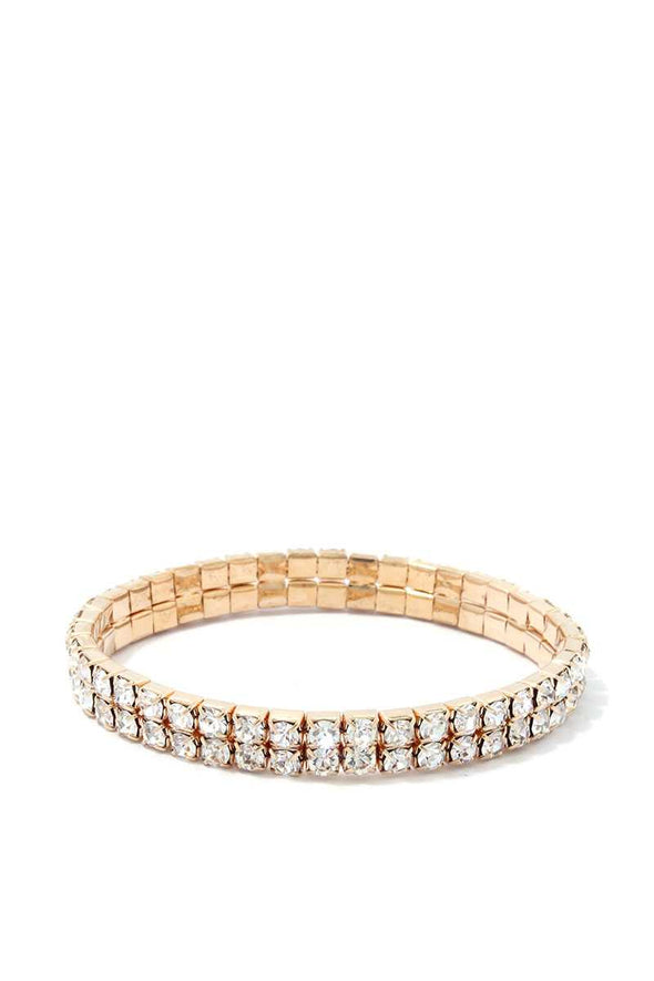 2 Layered Rhinestone Stretch Bracelet - Babe Shoppe