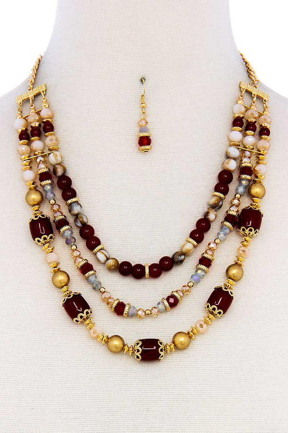 Multi Beaded Three Layer Necklace And Earring Set - Babe Shoppe