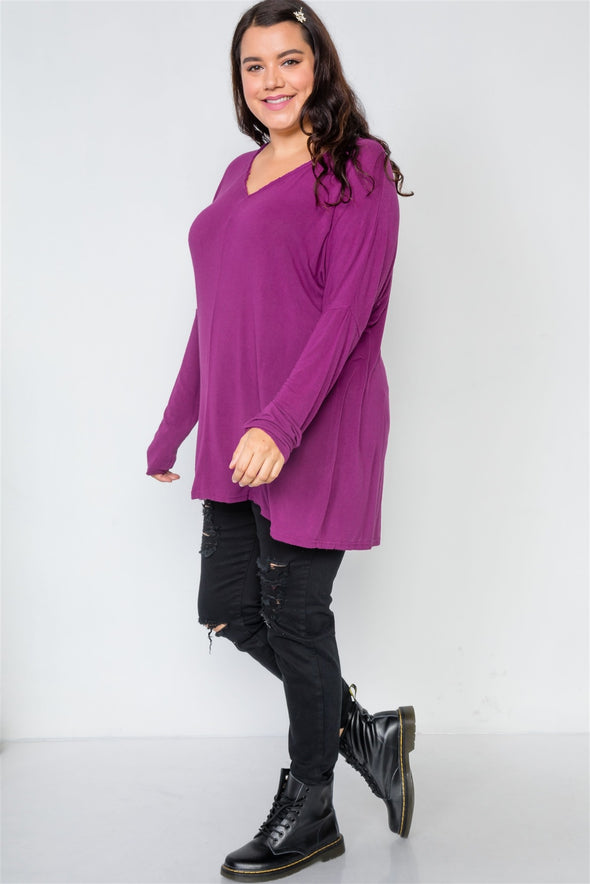 Plus Size Basic Over Sized Long Sleeve Top - Babe Shoppe