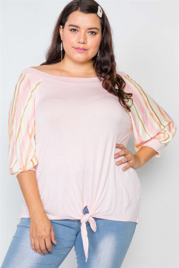Plus Size Pink Scoop-neck 3/4 Sleeve Top - Babe Shoppe