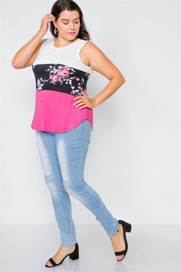 Plus Size Color Block Floral Print Sleeveless Top - Babe Shoppe