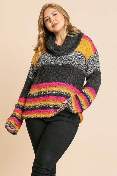 Multicolor Striped Fuzzy Knit Long Sleeve Pullover - Babe Shoppe