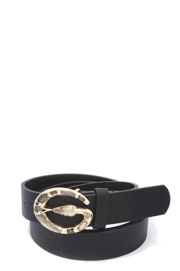 Snake Buckle Pu Leather Belt - Babe Shoppe