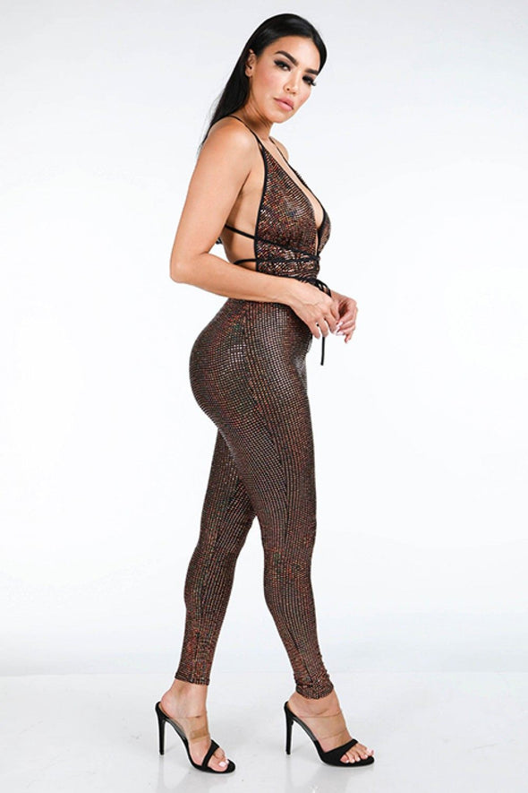 Hologram Sparkled Open Back Jumpsuit - Babe Shoppe