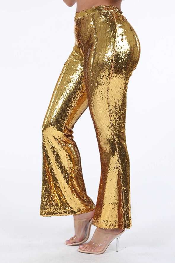 Sequined Flare Pants - Babe Shoppe