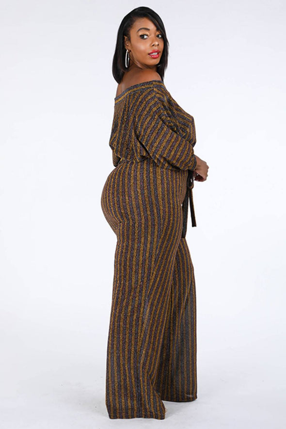 Metallic Stripe Jumpsuit - Babe Shoppe