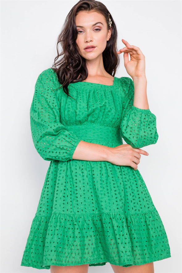 Kelly Green Lace Floral Eyelet Mini Midi Frill Dress - Babe Shoppe