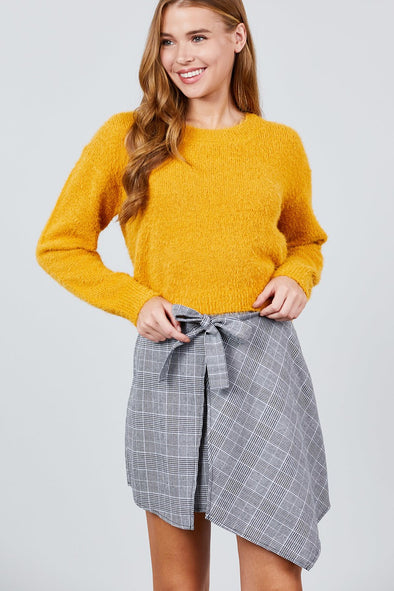 Long Sleeve Round Neck Crop Sweater - Babe Shoppe