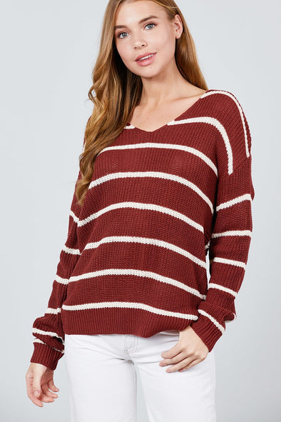 Long Sleeve V-neck Twist Back Stripe Sweater Top - Babe Shoppe