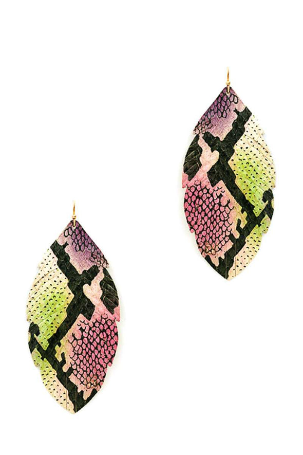 Trendy Genuine Leather Animal Skin Textured Leaf Drop Earring - Babe Shoppe