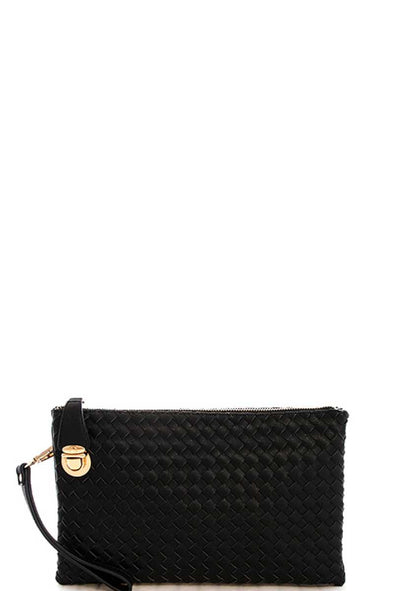 Fashion Cute Trendy Woven Clutch Crossbody Bag With Two Straps - Babe Shoppe
