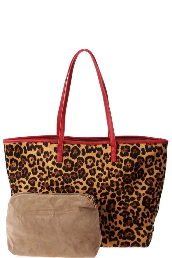 2in1 Designer Trendy Leopard Suede Shopper Bag - Babe Shoppe