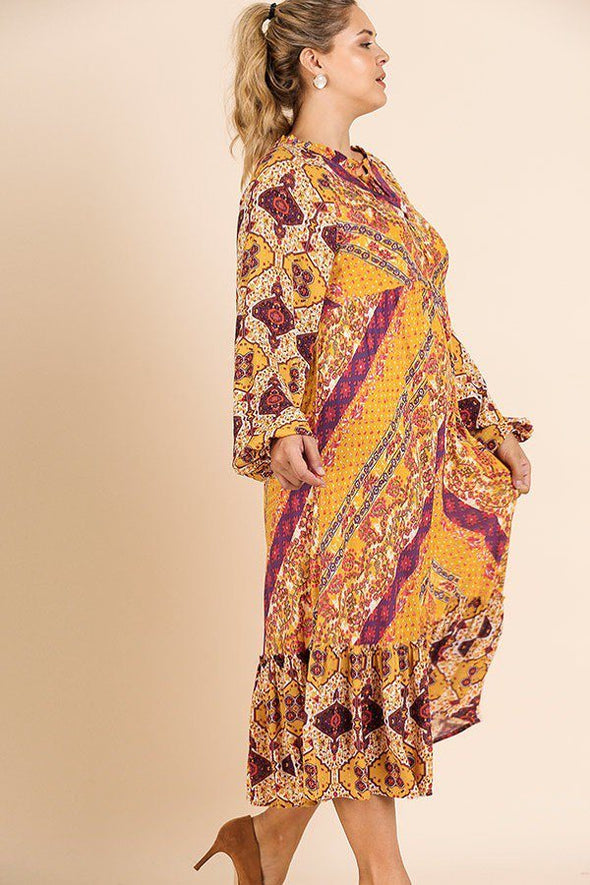 Scarf Mixed Print Long Puff Sleeve Keyhole Maxi Dress - Babe Shoppe
