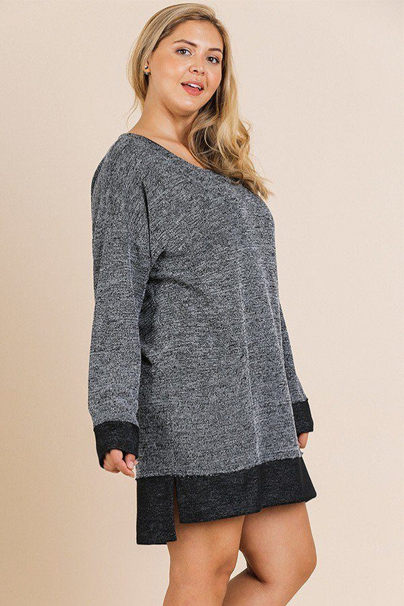 Heathered Knit Long Sleeve Round Neck Dress - Babe Shoppe