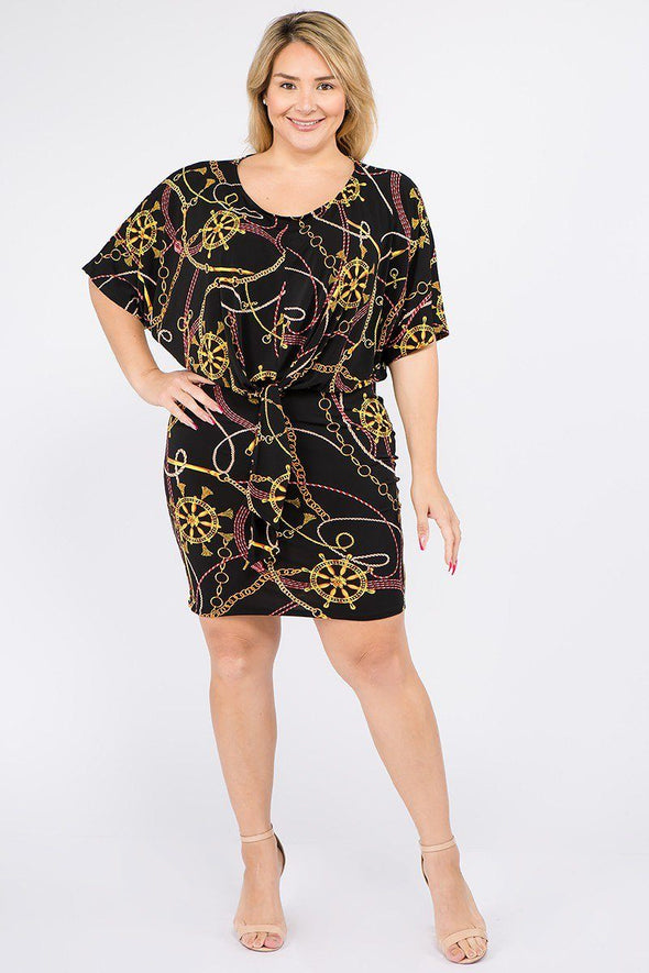Plus Size Multi Color Print Short Sleeve Dress - Babe Shoppe